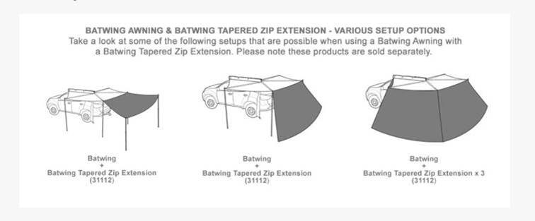 Batwing Tapered Awning Extension Configeration Options
